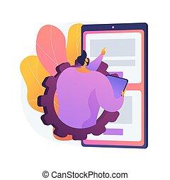 begriff, metapher, app, beweglich, entwicklung, kurse, vektor