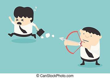 begriff, risiko, geschaeftswelt, vektor, partner, karikatur