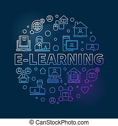 begriff, runder , e-lernen, linear, abbildung, vektor, bunte