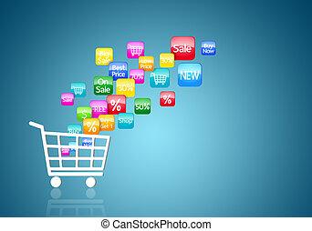 begriff, shoppen, internet, online