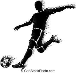 begriff, silhouette, fußball, sport, spieler, fußball
