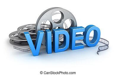 begriff, video., ikone
