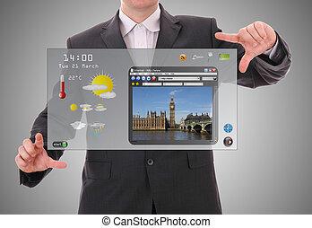 begriff, welt grafisch, gemacht, benutzer, digital, schnittstelle, geschäftsmann, darstellung, zukunftsidee