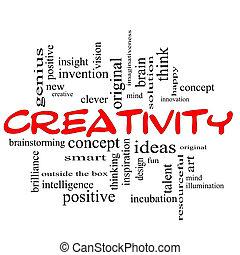 begriff, wort, kreativität, schwarze wolke, rotes