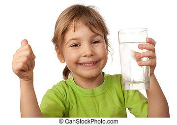 behälter, getränk- wasser, glas, kind, klein