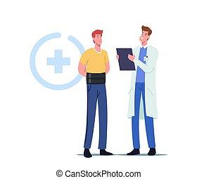 behandlung, mediziner, rückgrat, verband, hexenschuss, mann, rückenschmerzen, orthopädisch, oder, entzündung, gesundheitspflege, zeichen, tragen
