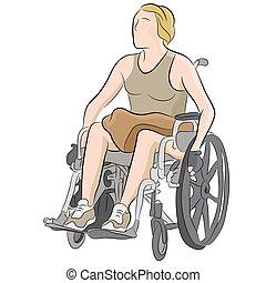 Behinderte Frau im Rollstuhl.
