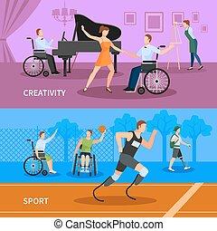 Behinderte Menschen 2 flache Banner Zusammensetzung.