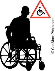 Behinderte Person im Rollstuhl.