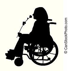 Behinderte Person im Rollstuhl, die Rose riecht und auf jemanden wartet