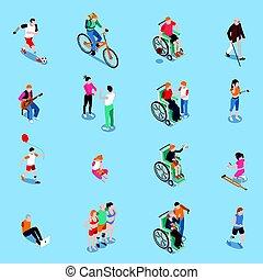 Behinderte Personen isometrisches Set.