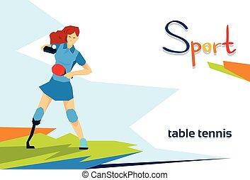 Behinderte Sportlerinnen spielen Tischtennissport.
