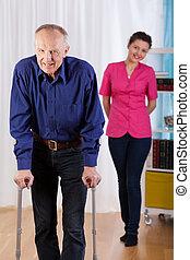 behinderten, krankenschwester, schwierig, uhren, spaziergang