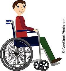 Behinderter junger Mann im Rollstuhl, medizinisches Gesundheitskonzept.