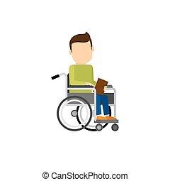 Behinderter Mann mit Buch