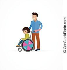 Behindertes Kind im Rollstuhl mit Eltern.