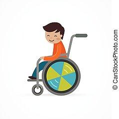 Behindertes Kind, Junge im Rollstuhl.