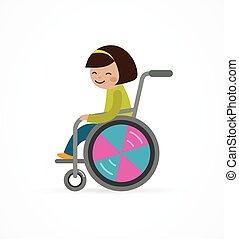 Behindertes Kind, Mädchen im Rollstuhl.