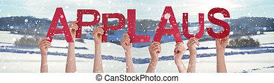 beifall, hände, leute, hintergrund, verschneiter , wort, mittel, besitz, beifall, winter
