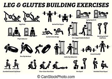 Beine und Glutes bilden Übung und Muskelaufbau-Stick-Figur Piktogramme.