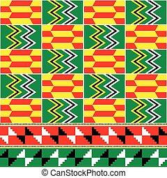 bekannt, geometrisch, tuch, ghana, seamless, design, afrikanisch, vektor, muster, stoffe, kente, nwentoma, retro, formen, stammes-, stil, textilien, oder, inspiriert