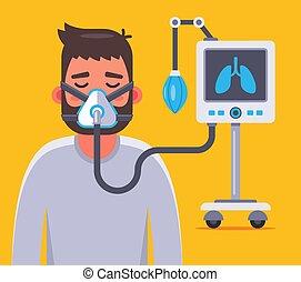 belüftung, lungen, coronavirus., krank