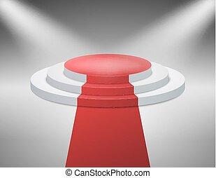 Beleuchtet mit Rampenlichtbühne für die Preisverleihung. Vector Illustration.