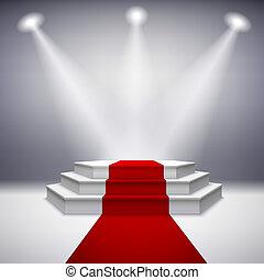 Beleuchtetes Bühnenpodium mit rotem Teppich.