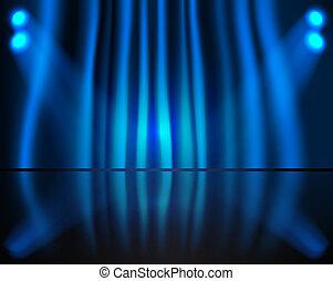 Beleuchtung mit blauem Vorhang