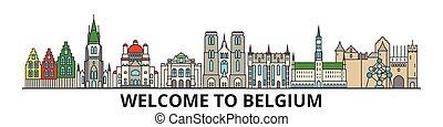 Belgien skizzierte Skyline, belgische flache dünne Linie Icons, Wahrzeichen, Illustrationen. Belgien Cityscape, belgische Reisestadt-Vektorbanner. Urban Silhouette