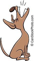 Bellen oder Heulen Hunde Cartoon Charakter.