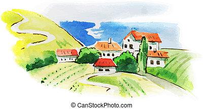 Bemalte Weinberglandschaft mit Wasserfarben.