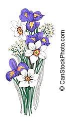 Bemalter Strauß von Narzissen und Irisblüten auf weißem Hintergrund.