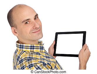 bemannen computer, besitz, tablette, leer