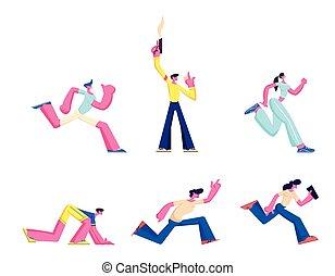 bemannen lauf, race., abbildung, läufer, leute, mann, charaktere, vektor, sportler, satz, laufen, karikatur, athlet, sprinter, weibliche , gewehr, schießen, track., marathon, leer, start, sport, competition., sprint
