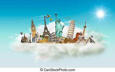 Berühmte Monumente der Welt in einer Wolke.