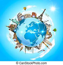 Berühmte Monumente der Welt um den Planeten Erde.