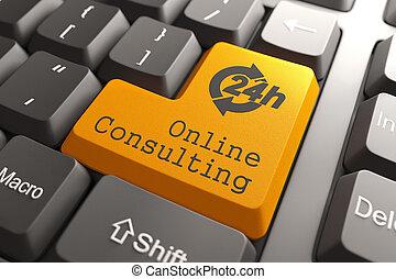 beraten, tastatur, button., online