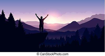 berg, angehoben, steht, oberseite, arme, landschaftsbild, mann, glücklich, sonnenaufgang, felsformation