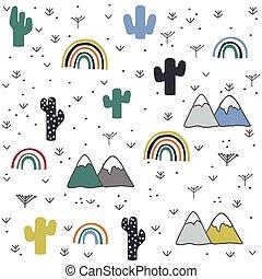 berg, hand, muster, gezeichnet, regenbogen, kaktus