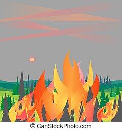 berg, katastrophe, wohnung, bäume, feuer, vektor, abbildung, wald