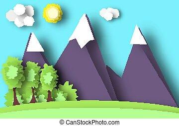 berg, papier, szene, world.