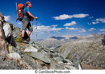 berg, rucksack, mann, junger, wanderung