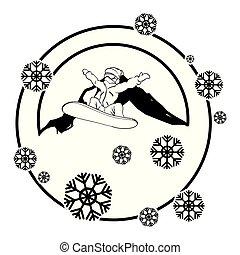 berg, snowboard, athlet, szene