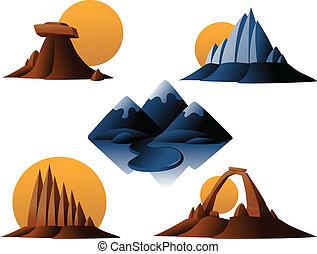Berg und Wüsten-Ikonen