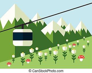 berg, vektor, cableway, landschaftsbild
