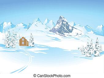 Bergblick in der Winterlandschaft