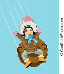 berge, clipart kinderschlitten, aufblasbar, reitet, winter, kind