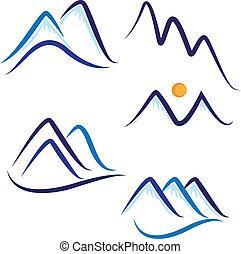 berge, schnee, satz, logo, stilisiert