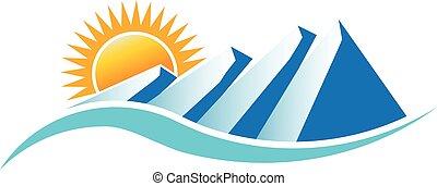 Berge sonniges Logo. Vector Grafikdesign